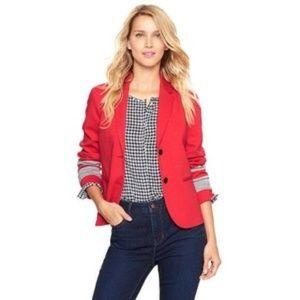 Gap Red Gray Academy Blazer Stripe